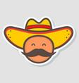 cute mexico man face in national sombrero hat vector image vector image