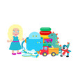 doll and robot set of toys vector image vector image