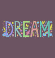 doodle dream lettering vector image vector image
