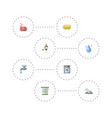 flat icons laundromat faucet sponge and other vector image vector image