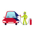 flat mechanic boy painting car with spray vector image vector image