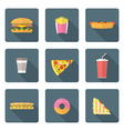flat style colored various fast food icons vector image