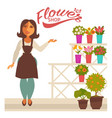 flower shop banner with woman florist and fresh vector image vector image