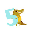 Funny cute croc animal and number five birthday