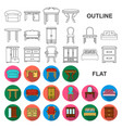 furniture and interior flat icons in set vector image vector image