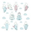 Hand drawn angel icon set vector image