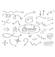 handdrawn doodle arrows icon set hand drawn black vector image vector image