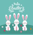 happy easter bunnies floral vector image