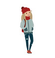 happy female teenager wearing warm clothing vector image vector image