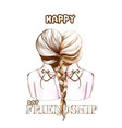 happy friendship day card two girls united vector image vector image