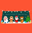 happy kids in christmas costumes background vector image vector image