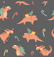 holiday seamless pattern with cute dinos vector image vector image