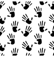 Human hands prints black and white seamless vector image