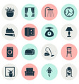 interior icons set with armchair washing machine vector image
