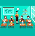 kids in mask in classroom social distancing vector image vector image