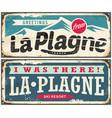 la plagne france retro souvenir signs set from one vector image