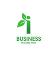 letter i with leaf logo vector image vector image