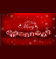 merry christmas 3d text on red background vector image