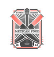 mexican food vintage isolated label vector image vector image