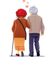 old couple in love walking together vector image vector image