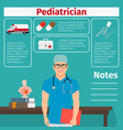 pediatrician and medical equipment icons vector image vector image