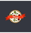 Pizza icon with text on ribbon vector image