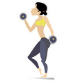 pretty young woman does exercises with dumbbells i vector image