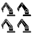 robotic arm black symbol vector image vector image