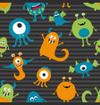 seamless pattern of various monsters vector image vector image