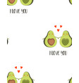 seamless pattern with cute avocado for valentines vector image