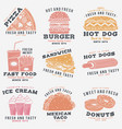 set fast food retro badge design vintage vector image vector image
