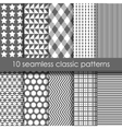 Set of 10 classic seamless geometric patterns vector image vector image