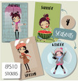 set with cute seasonal cartoon girl vector image