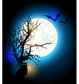 Silhouette of tree and owl vector image vector image