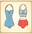 Sketch swimming suite in vintage style vector image vector image