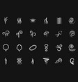 smoke wind simple icons on black backdrop vector image vector image
