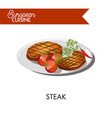 steak with tomatoes from european cuisine isolated vector image vector image