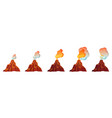 volcanic eruption process in different stages vector image vector image