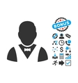 Waiter Flat Icon with Bonus vector image