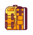 yellow hiking backpack icon vector image vector image