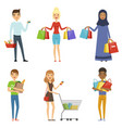 happy people of different nations make shopping vector image