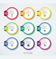 set of 9 infographic circle templates vector image