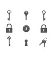 keys and padlocks icon set vector image