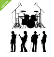 Musicians and drums silhouettes vector image