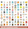 100 art guidance icons set flat style vector image vector image