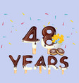 48th years happy birthday card vector image vector image