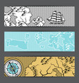 banners with old nautical map vector image