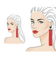 beautiful woman wearing stylish jewelry vector image
