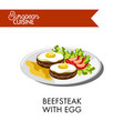 beefsteak with egg and tomatoes from european vector image vector image