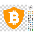 bitcoin shield icon with bonus vector image